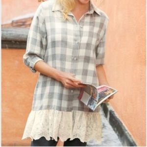 soft surroundings Gray Plaid Flannel Lce Tunic Top